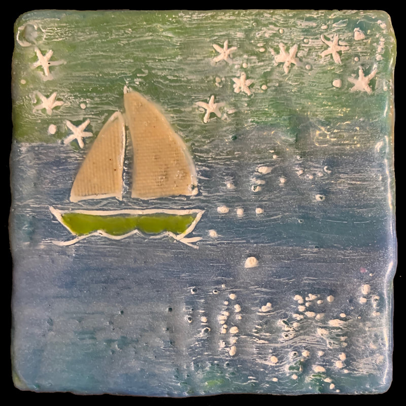 Sailing New England #1. Encaustic, cloth, oil paint, 3x3. SOLD