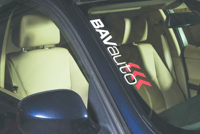 BAVauto® logo window decal.