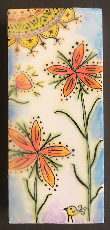 Essence of spring. Encaustic, watercolor pencils and India ink, 3x7.