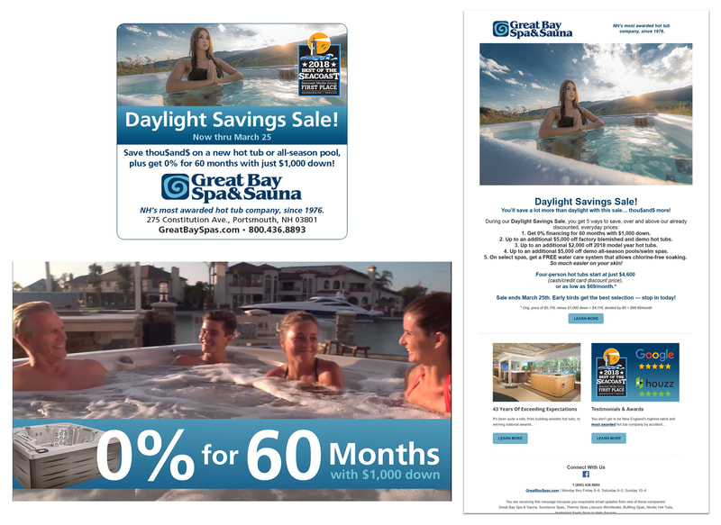 Advertising campaign for Great Bay Spa & Sauna.